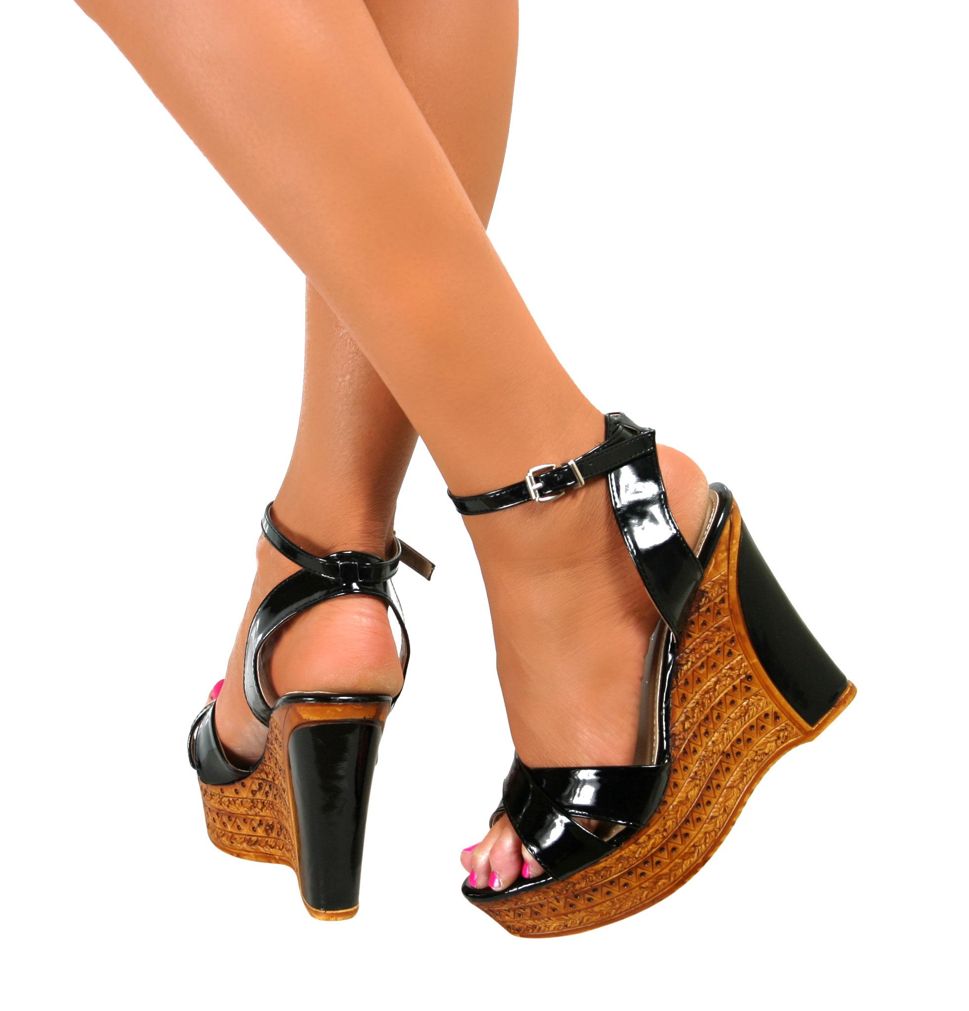 Ladies Peep Toe High Wedge Heel Platform Strappy Ankle ...