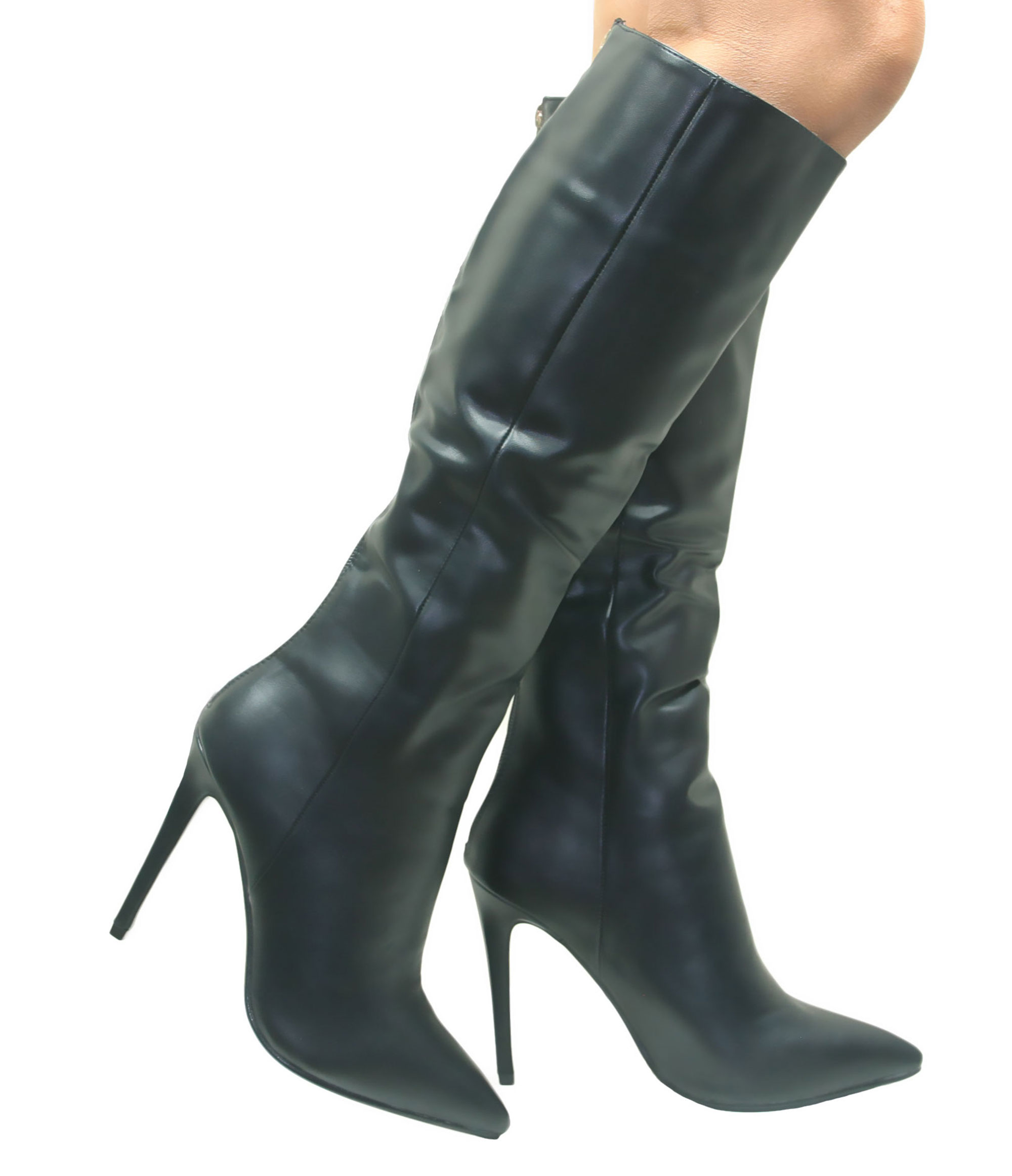 ca48515a8db Black Leather Knee High Boots Heel | Boot End