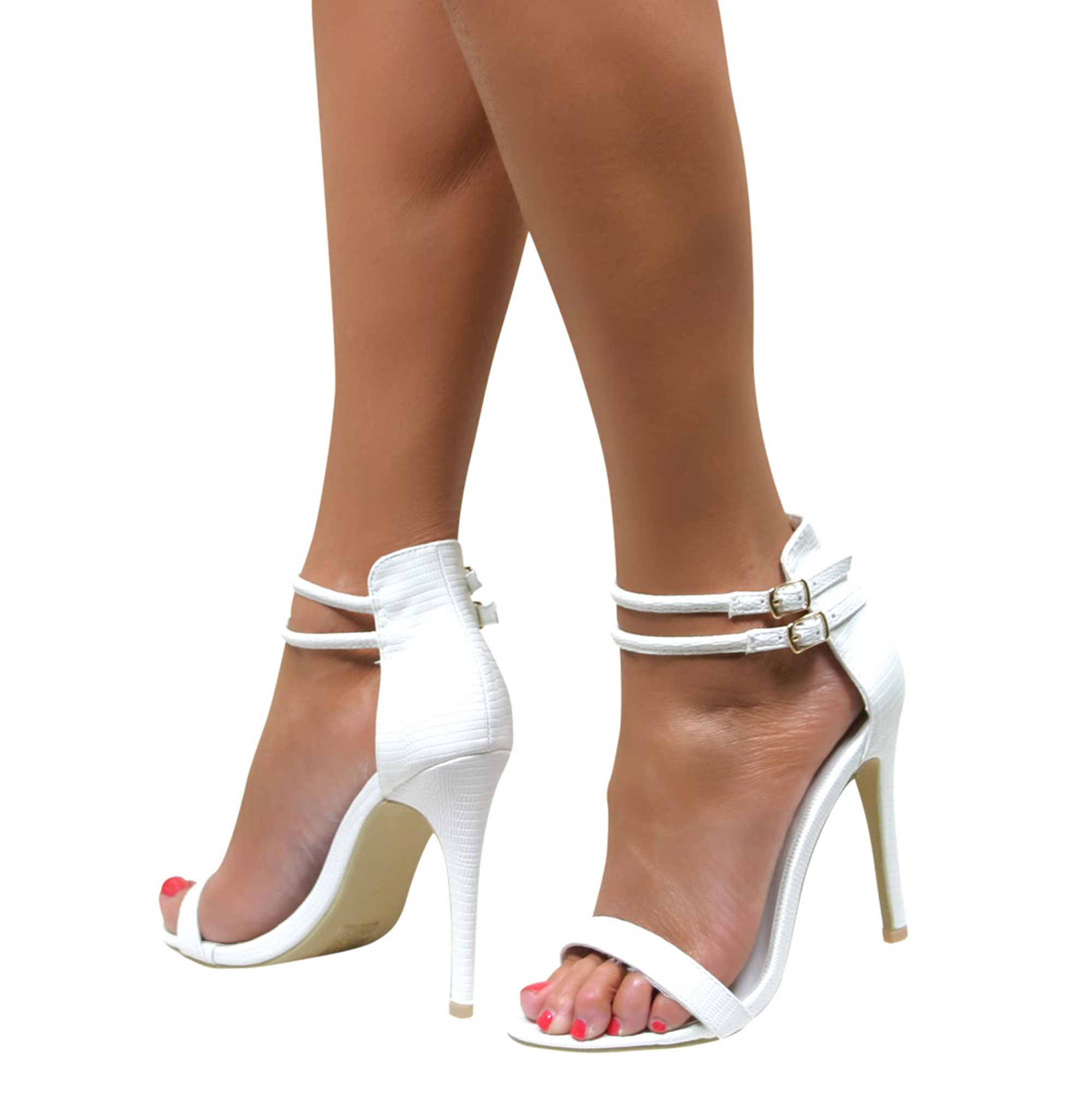 Womens Ladies High Heel Ankle Strap Buckle Barely There