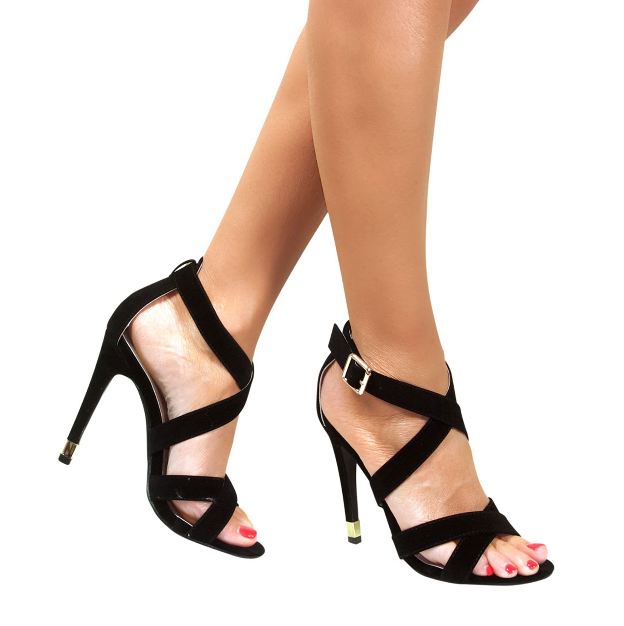 d157a817b5b6f STRAPPY SANDALS STILETTO HEEL ANKLE STRAP BUCKLE HIGH HEELS SHOES ...