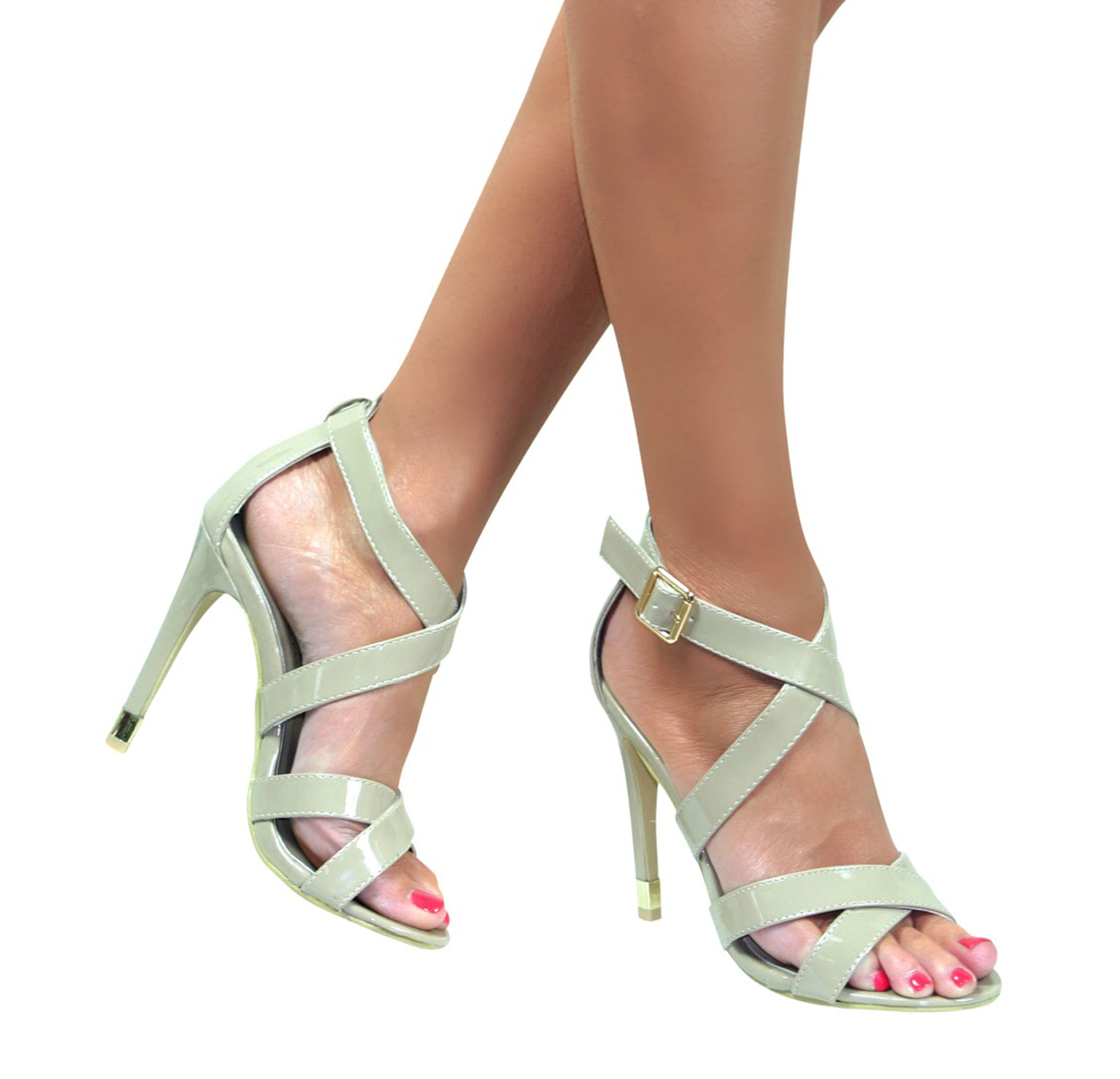 f1cead09d76 STRAPPY SANDALS STILETTO HEEL ANKLE STRAP BUCKLE HIGH HEELS SHOES ...