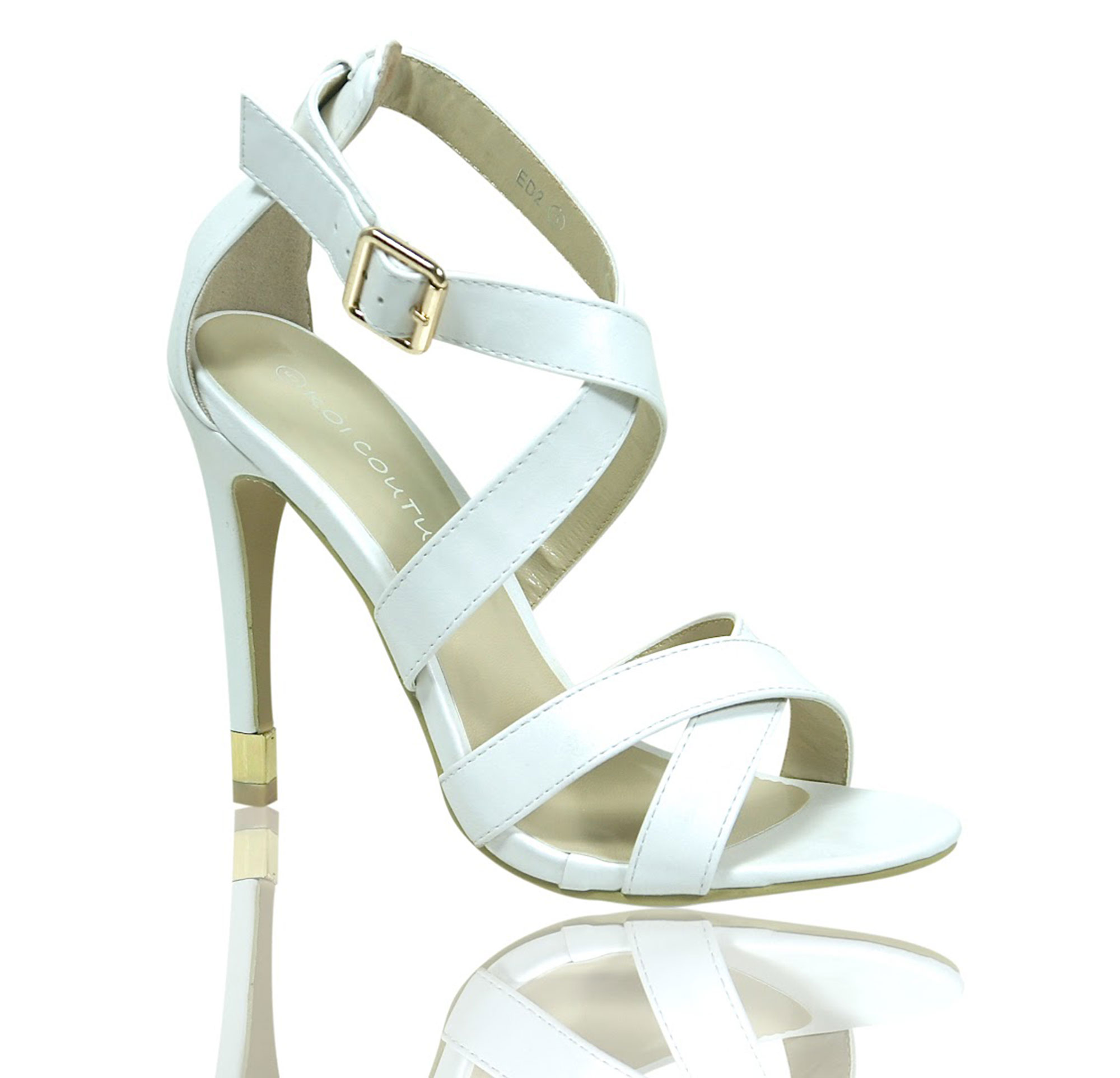 3e9fa2049001f STRAPPY SANDALS STILETTO HEEL ANKLE STRAP BUCKLE HIGH HEELS SHOES ...