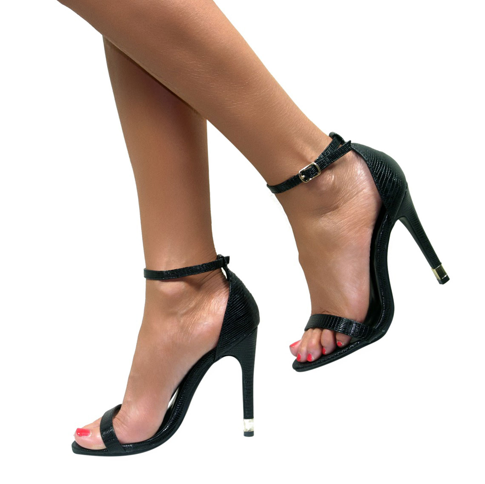 30b3829fe2 LADIES STRAPPY STILETTO HIGH HEEL BARELY THERE SANDALS ANKLE STRAP ...