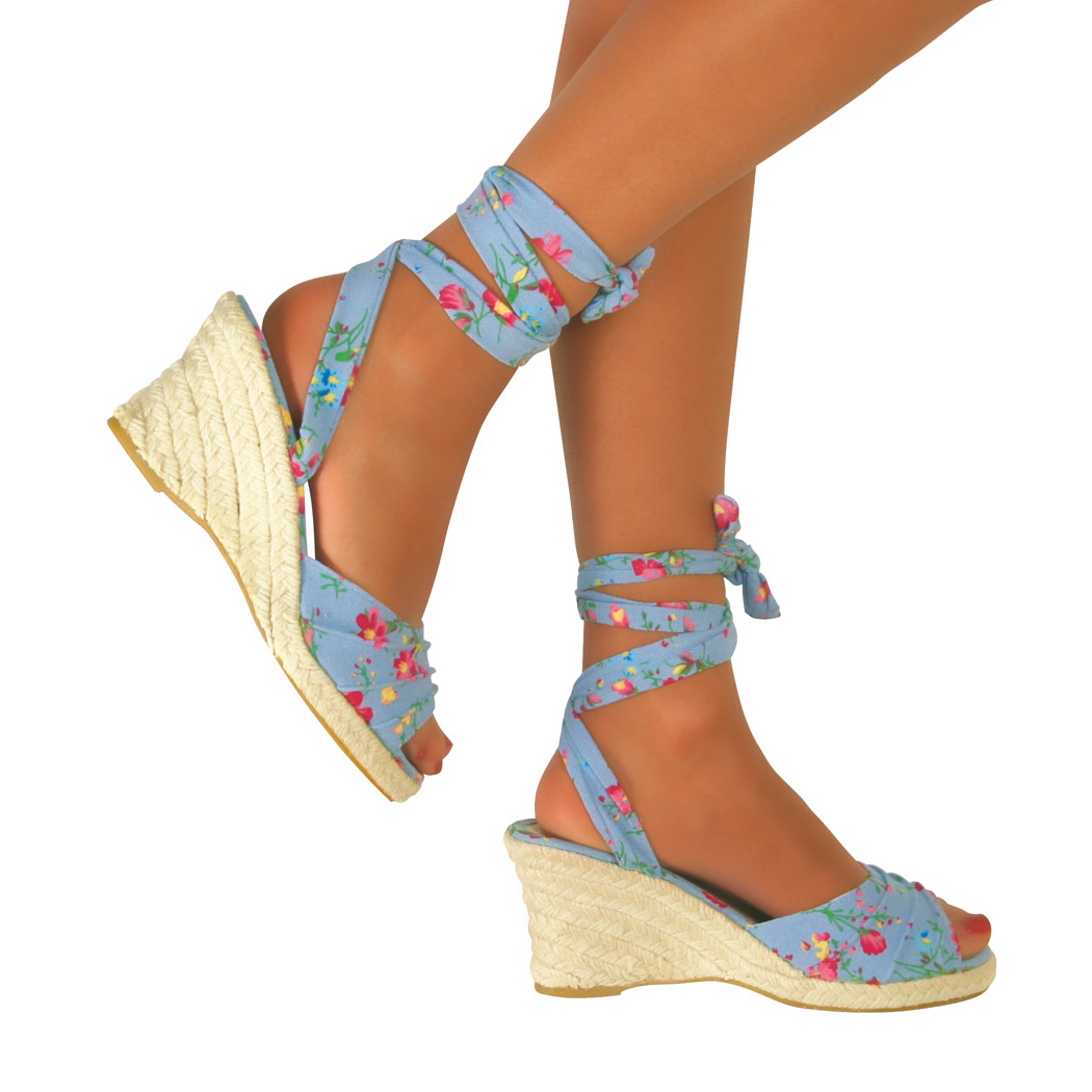eeda82b2efa9 NEW WOMENS LACE UP WEDGE LOW HEEL LADIES ANKLE STRAP SANDALS SHOES ...