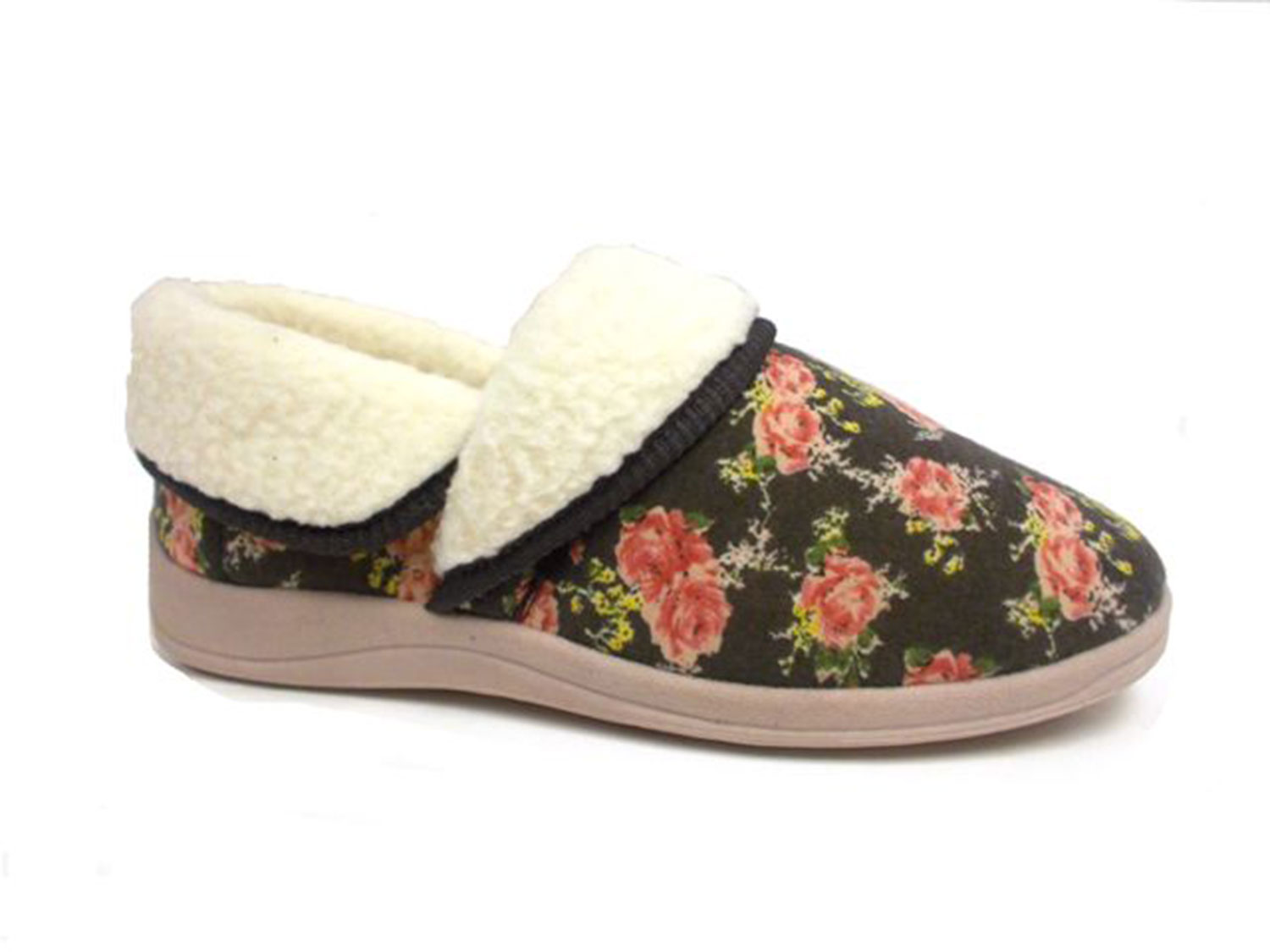 Ladies Womens New Dunlop House Slippers Wide Fit Soft Fur