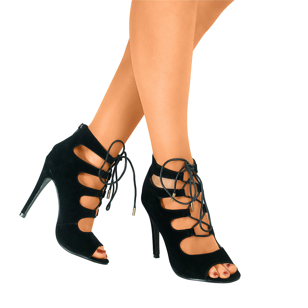 Ladies Lace Up Gladiator Ankle Sandals Open Toe High Heel