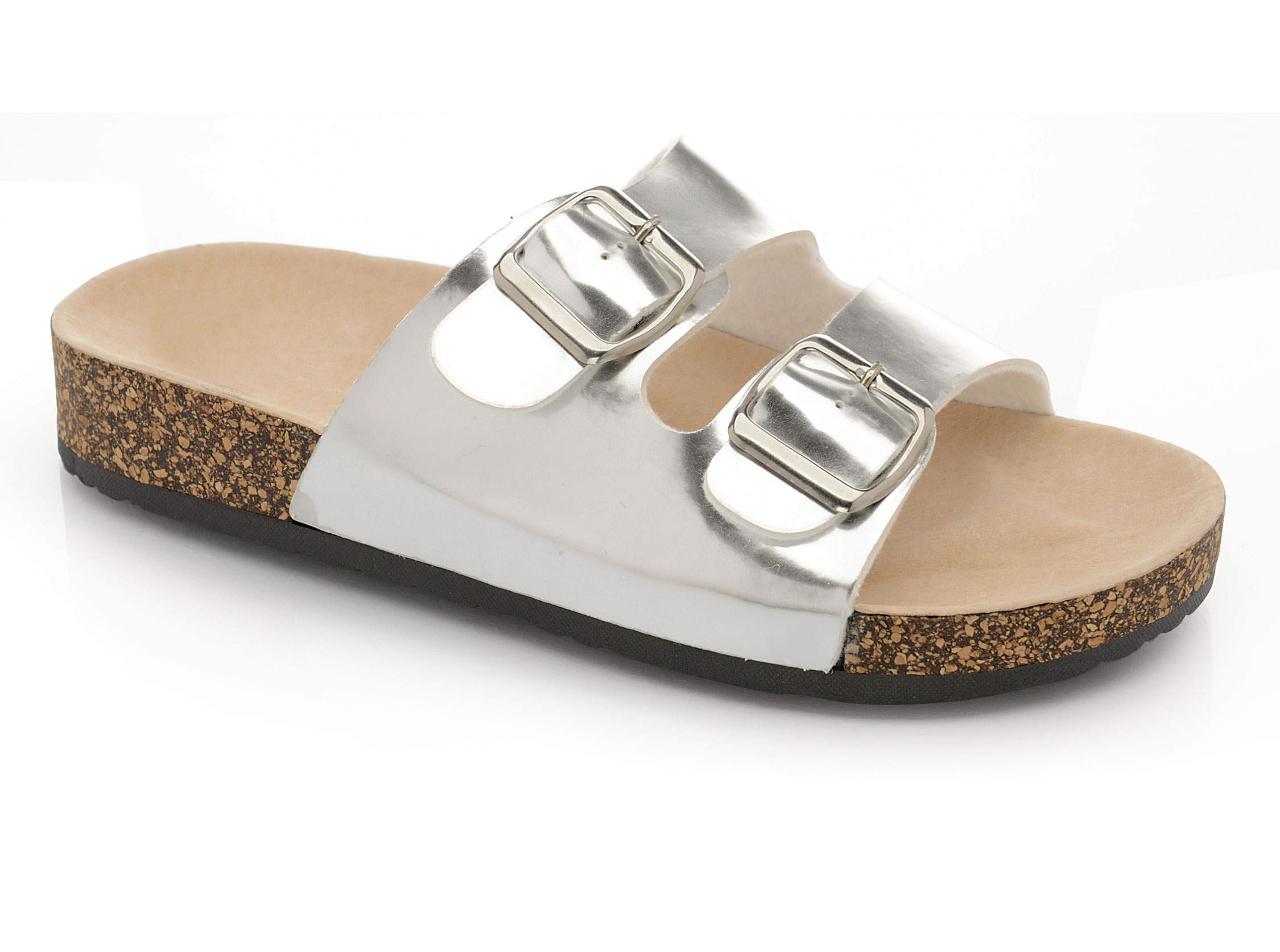 timeless design pretty cool first rate Details about Ladies Womens Flat Sandals Summer Comfort Cork Sole Mules  Slip On Beach Shoes