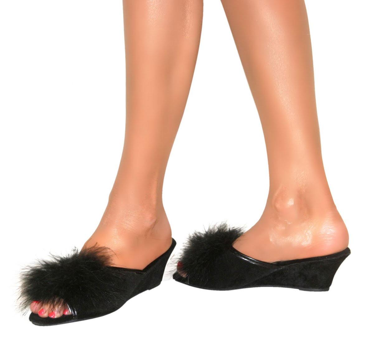 Womens Bedroom Slippers Womens Dunlop Slipper Wedges Faux Suede Heels Slip On Peep