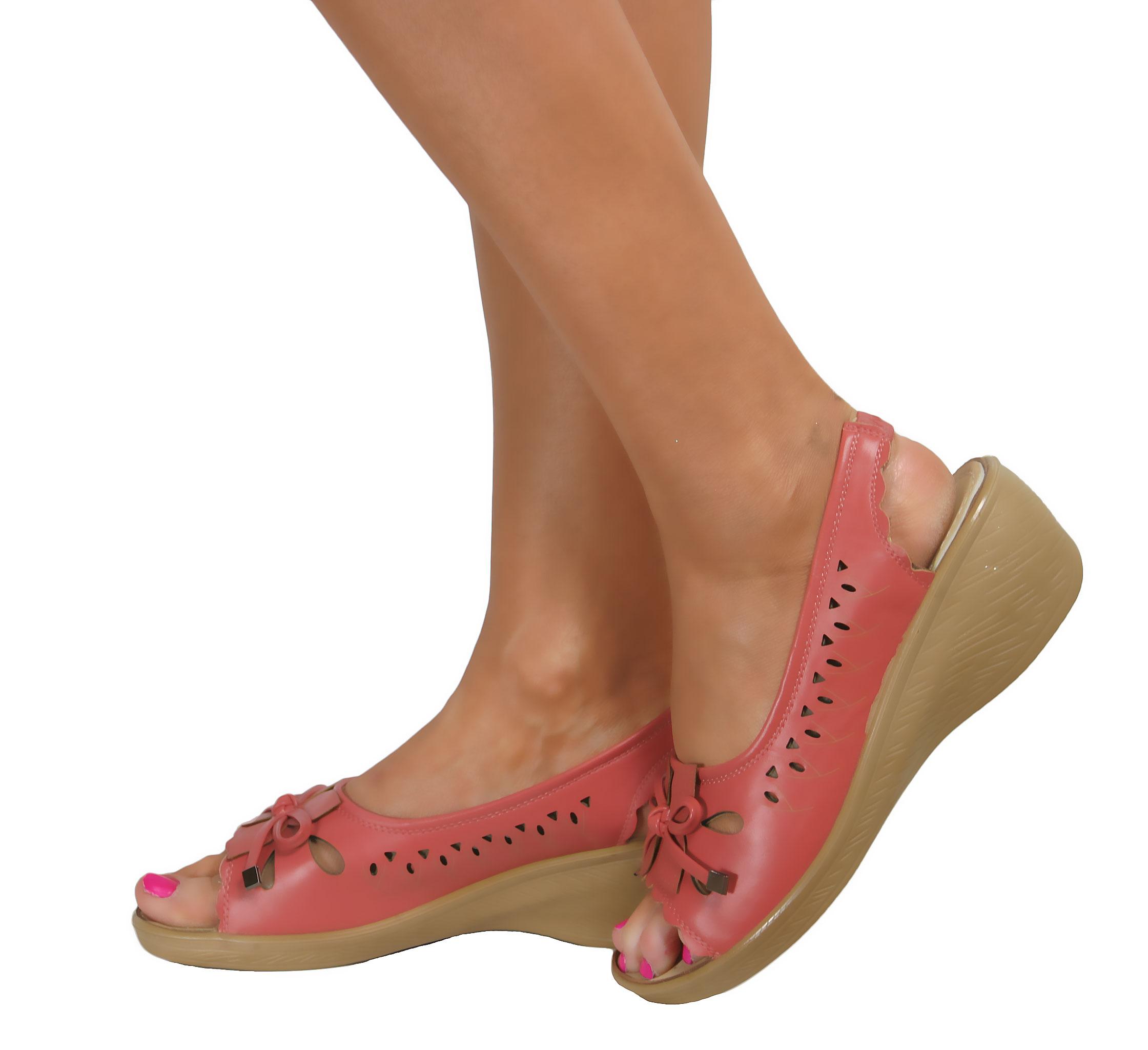 Ladies Low Wedge Heel Peep Toe Wide Fit Comfy Casual
