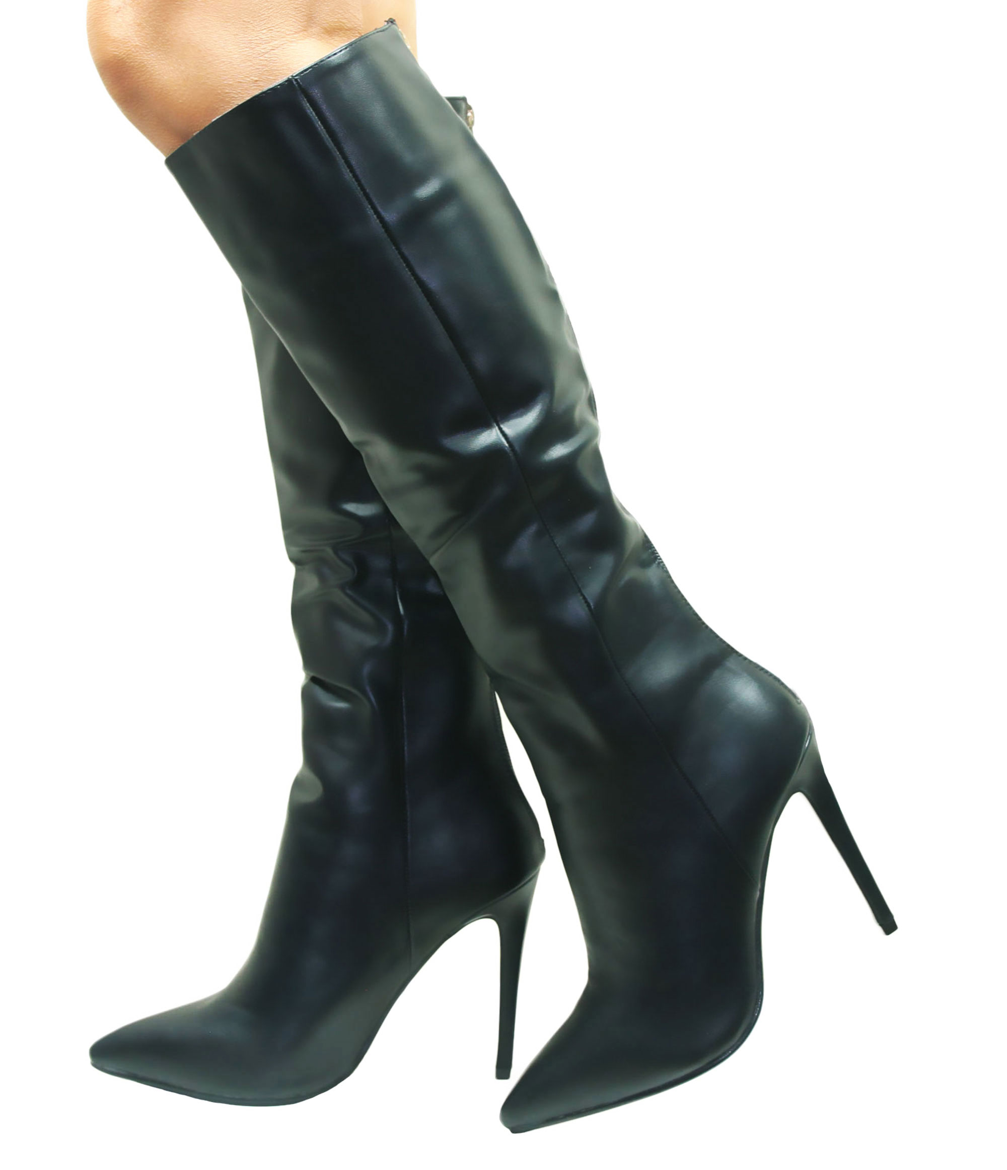 WOMENS VAMP WINTER PLATFORM STILETTO KNEE HIGH HEEL LONG