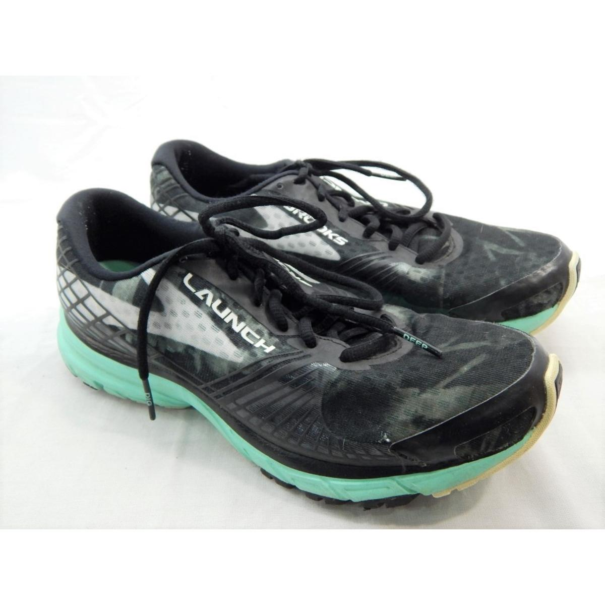4ece06fcde9 Details about Brooks Women s Launch 3 Running Black White Ice Green Sneakers  10.5M