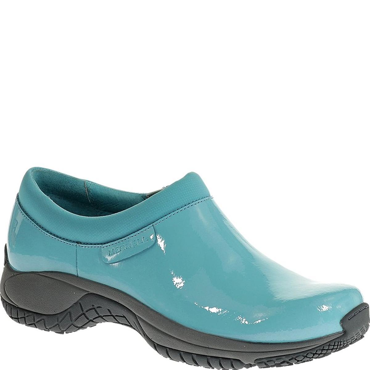 1aabf44c Details about Merrell Women's Encore Moc Pro Shine Slip-Resistant Maui Blue  Work Shoe 5M