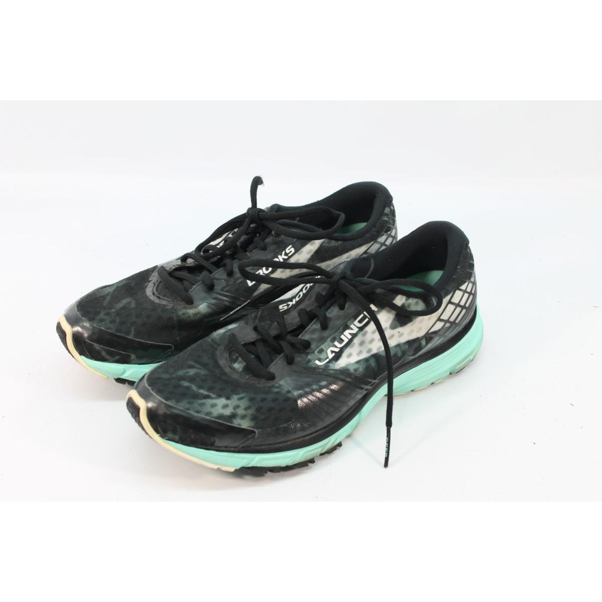 3139b4baa5a Details about Brooks Women s Launch 3 Black White Ice Green Road-Running  Shoes 9.5M