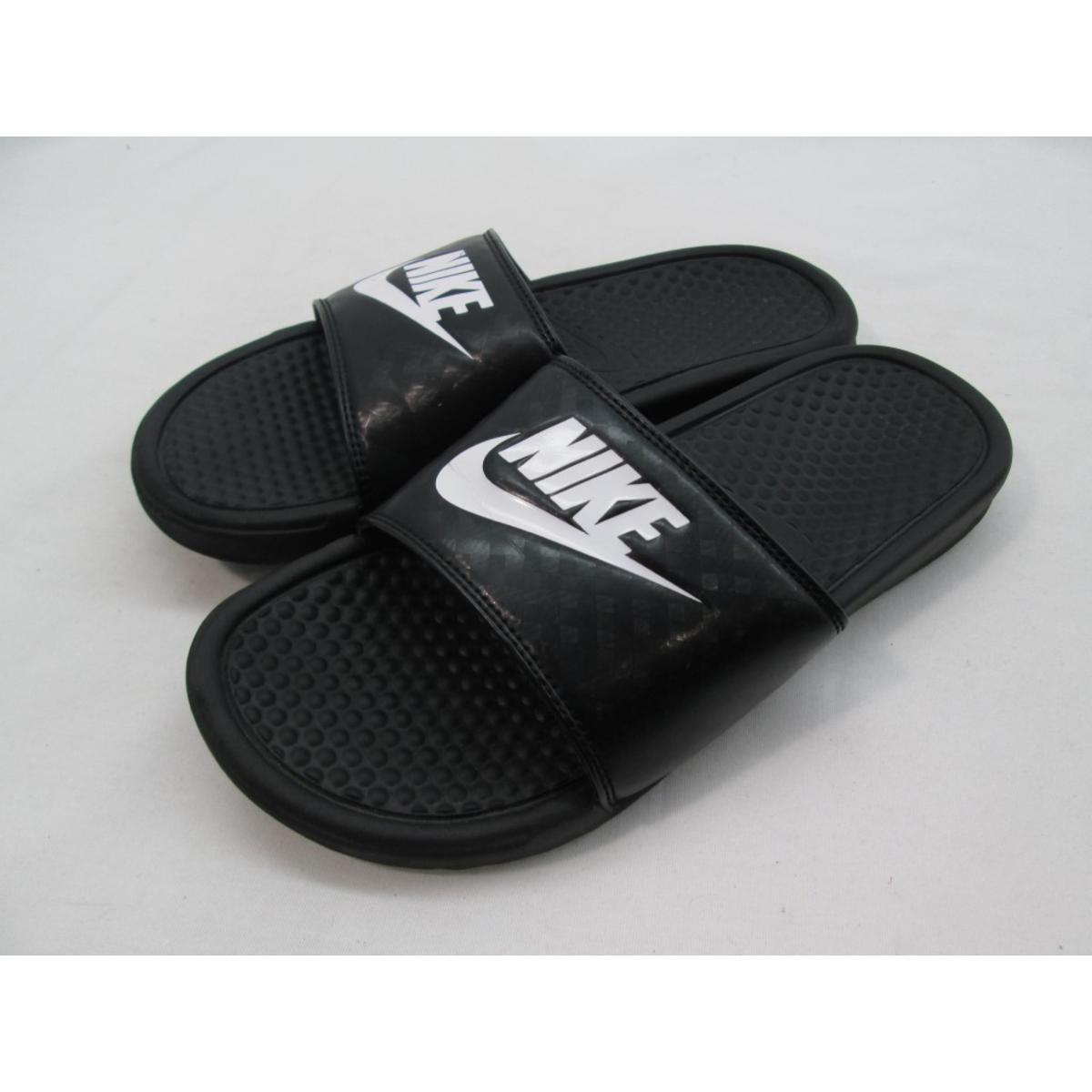 d2d64cbf215d Details about Nike Black Benassi Swoosh Unisex Slide Sandal Men s 9 Women s  10