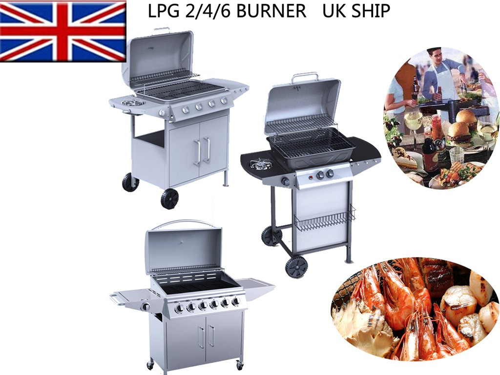 2 4 6 lpg burner bbq gas grill stainless steel barbecue outdoor side burner port ebay. Black Bedroom Furniture Sets. Home Design Ideas