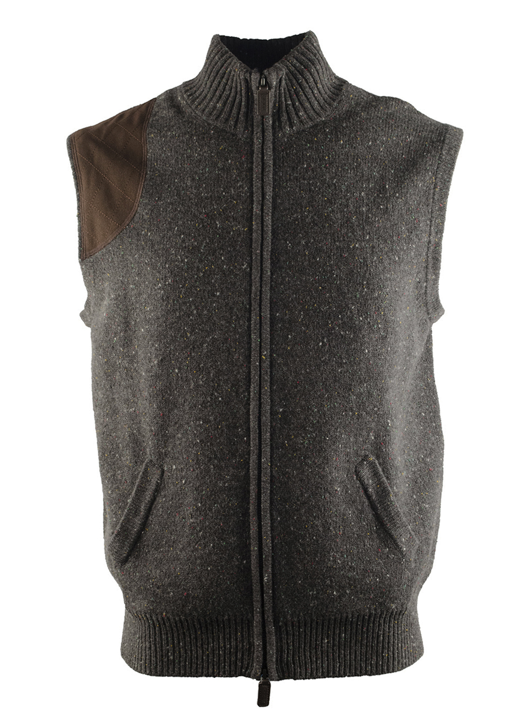 Cremieux Mens Gray Suede Leather Wool Zip up Sweater Sleeveless ...