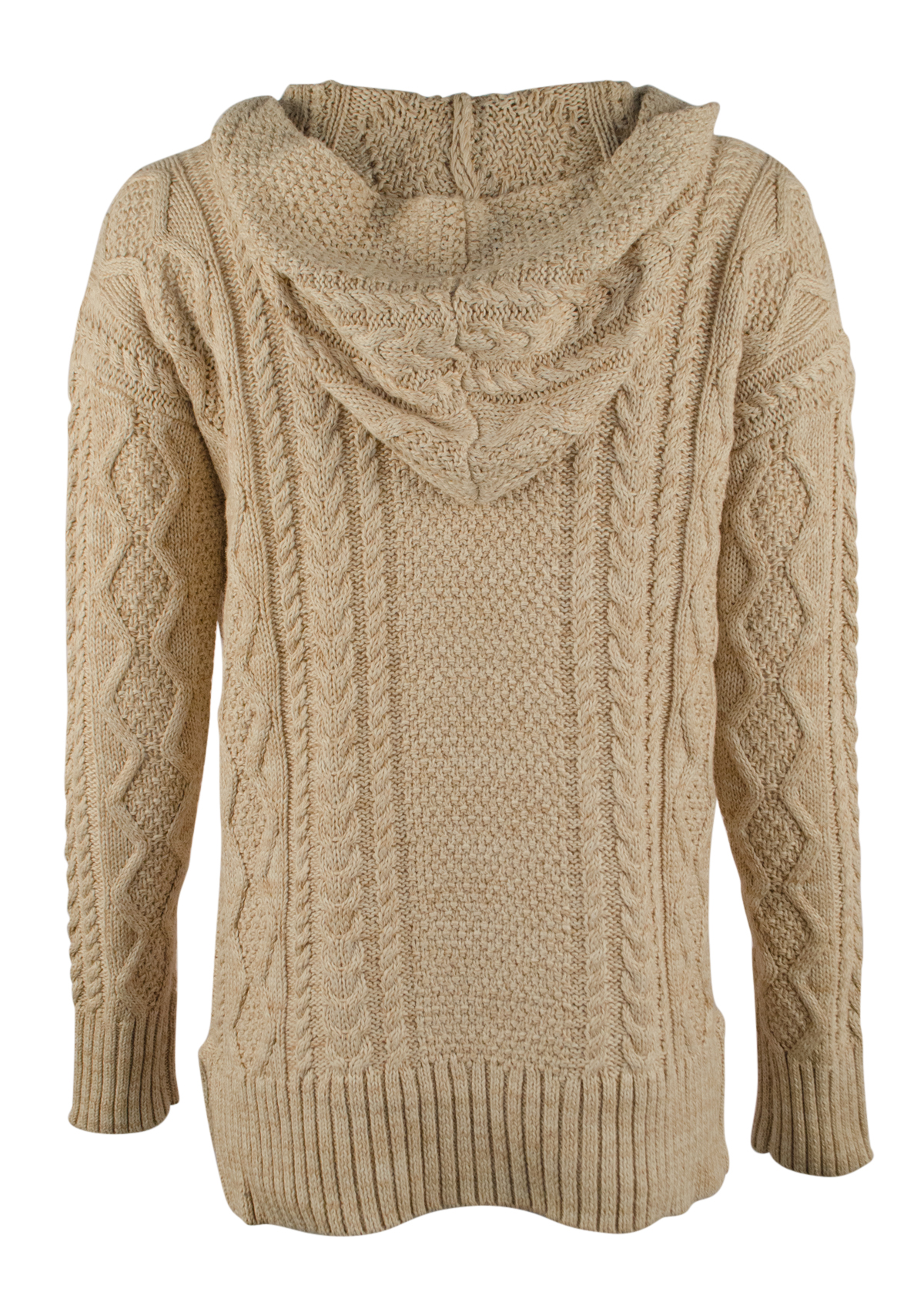 Ralph Lauren 1492 Size XL Natural Cable Knit Sweater Hoodie ...