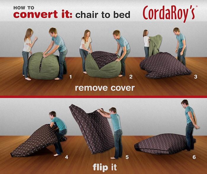 Cordaroy S Chenille Beanbag Chair Queen Sleeper Ebay