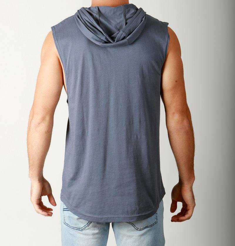 21b0b364392bd2 Men s Sleeveless Hoody Lightweight DEEP CUT off Sleeves Hoodie Gym ...