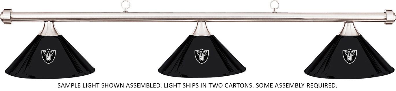 NFL Oakland Raiders Black Metal Shade Chrome Bar Billiard Pool - Raiders pool table