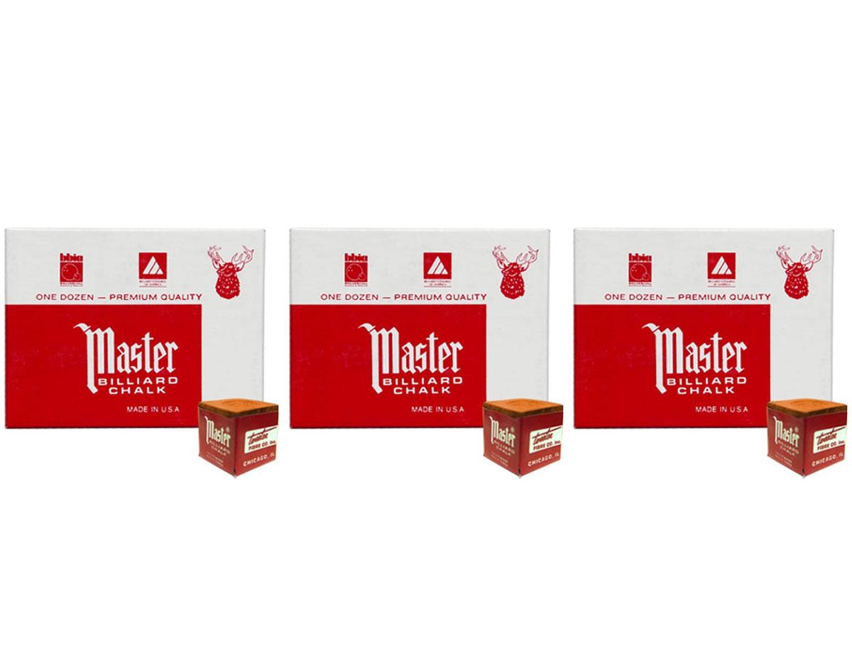 POOL /& BILLIARD CUE CHALK 12 PIECES 1 BOX NEW RUST MASTER CHALK PACK