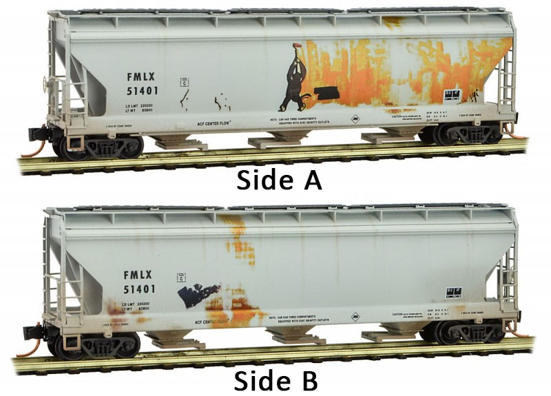 Micro-Trains MTL N-Scale 3-Bay Covered Hopper ACFX Christmas Graffiti #27280