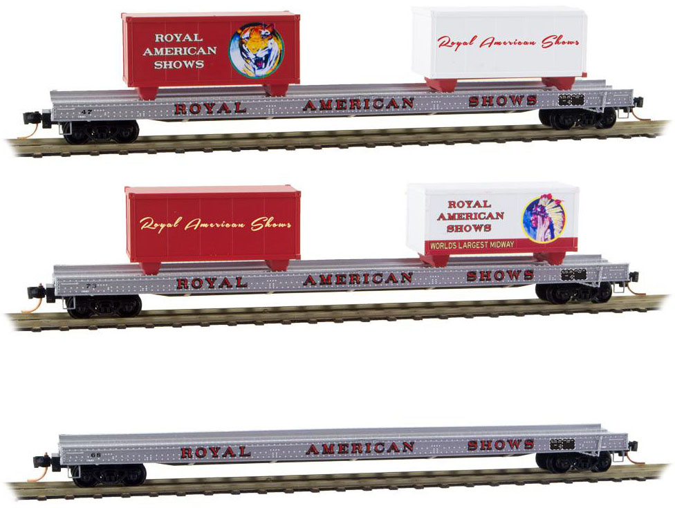 Micro-Trains MTL N-Scale Royal American Shows Flat Cars w ...