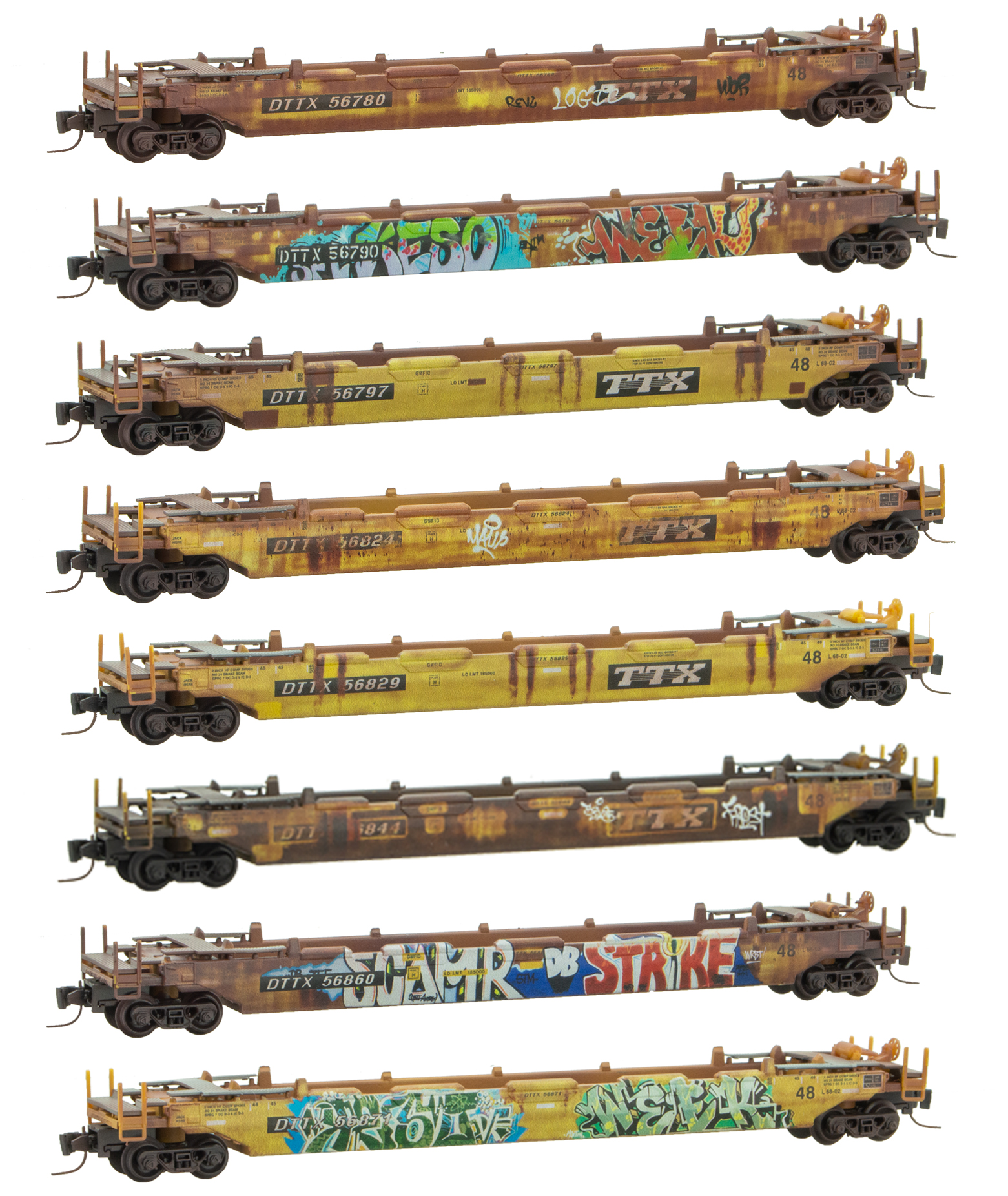 Micro-Trains MTL Z-Scale 61ft Bulkhead Flat Cars TTX//TTPX 2-Pack Weathered