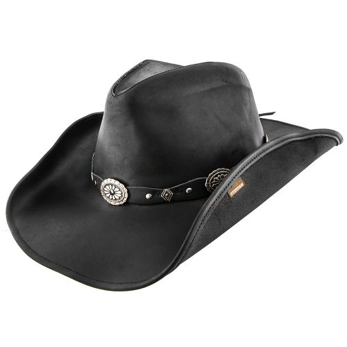 Stetson Roxbury Black Distressed Shapeable Leather Cowboy Western ... b054a83960b