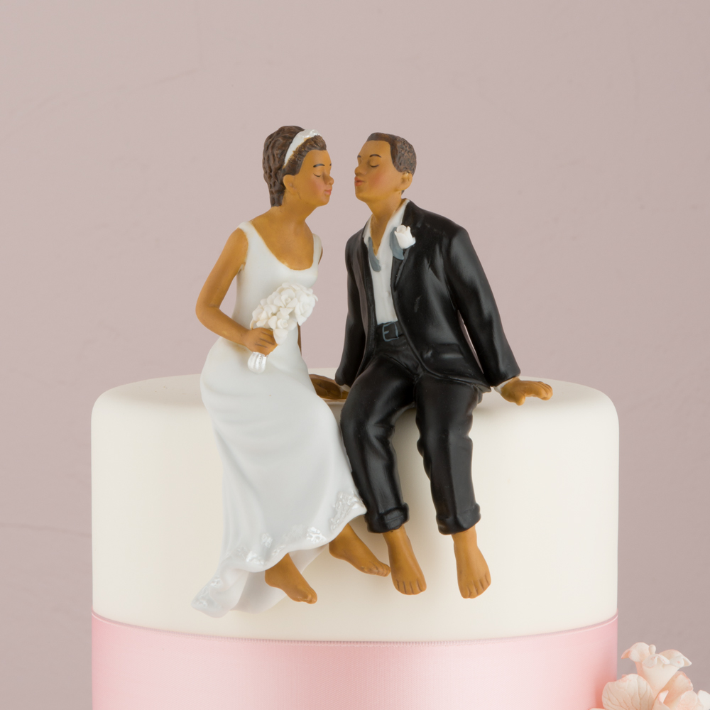 Whimsical Sitting Bride and Groom Wedding Cake Topper African ...