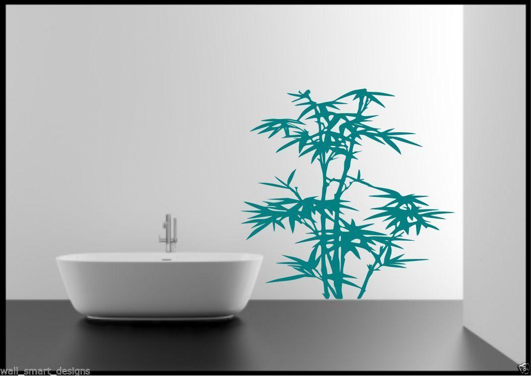 Détails sur Bambou Herbe Feuilles Arbre Salle de Bain Chambre Autocollant  Mural Pochoir Art