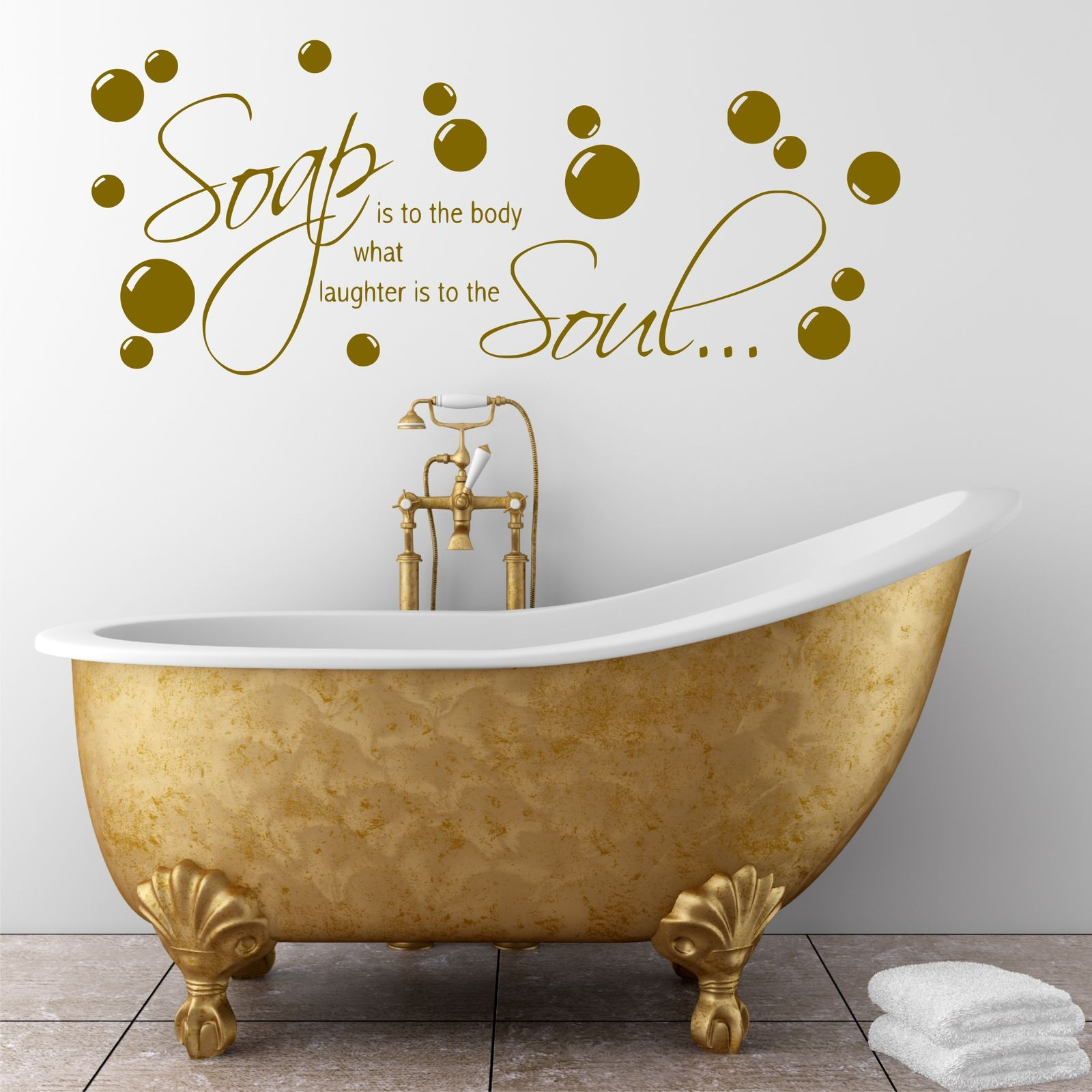 Bathroom Wall Quote Soap Body Wall Sticker Decal Transfer Mural