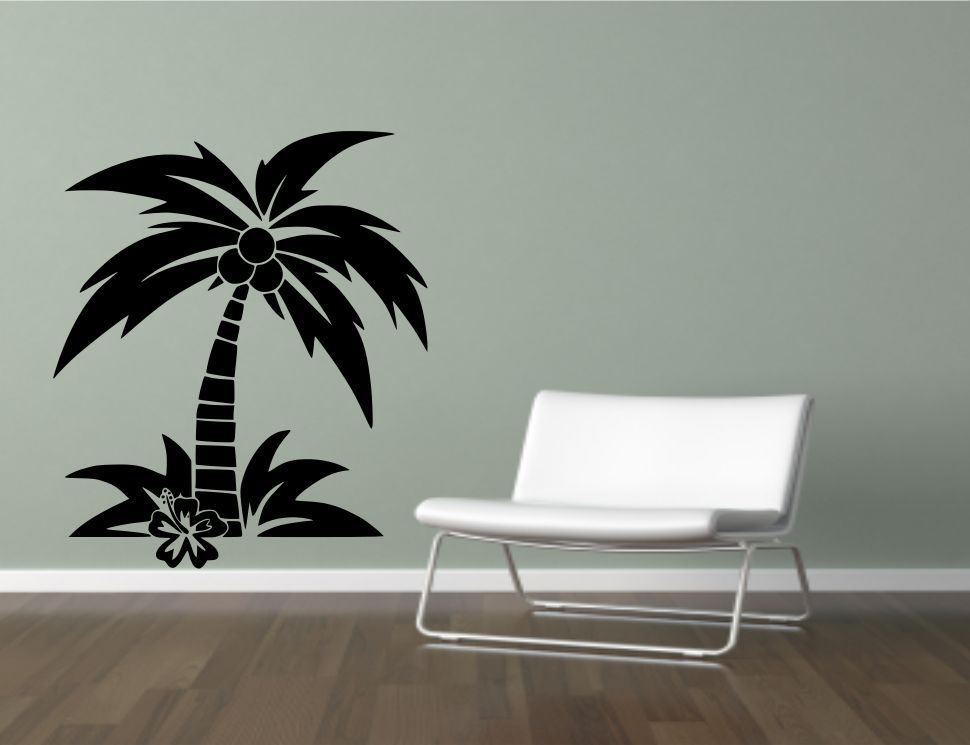 coconut palm tree wall sticker decal mural transfer stencil vinyl wall covering ebay. Black Bedroom Furniture Sets. Home Design Ideas