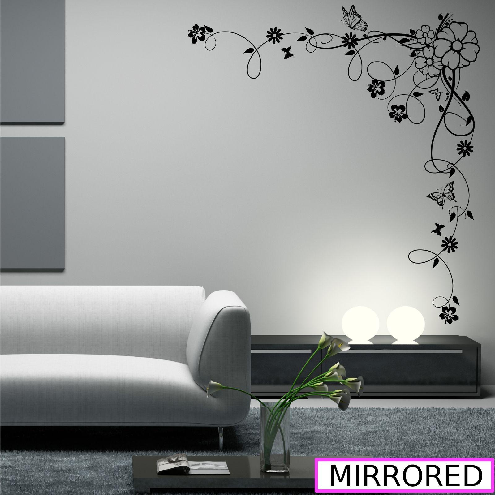 Corner Flower Vine Hibiscus Wall Art Sticker Vinyl