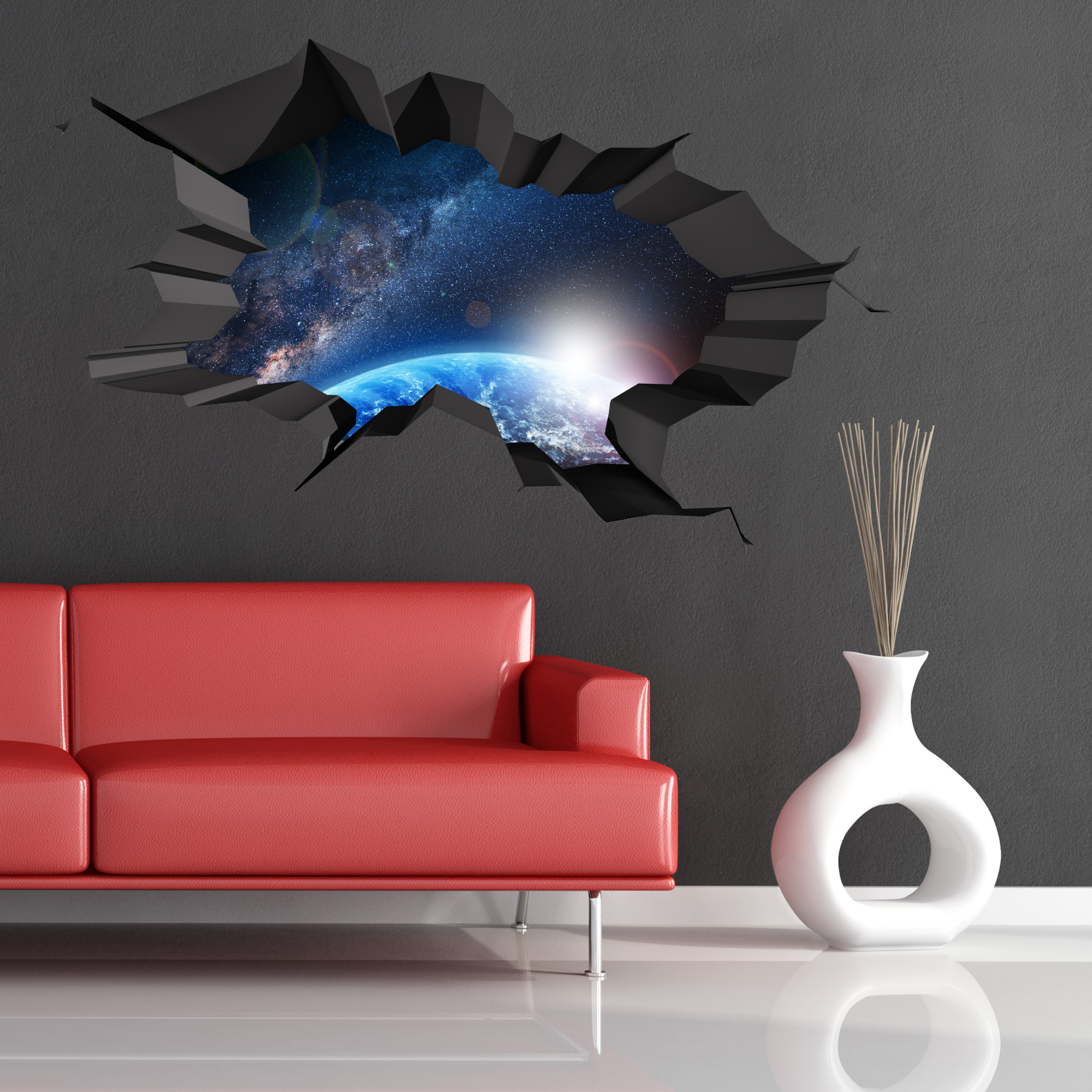 3d Full Colour Space Earth Astronomy Galaxy Cracked Wall Art Sticker Decal Print Ebay