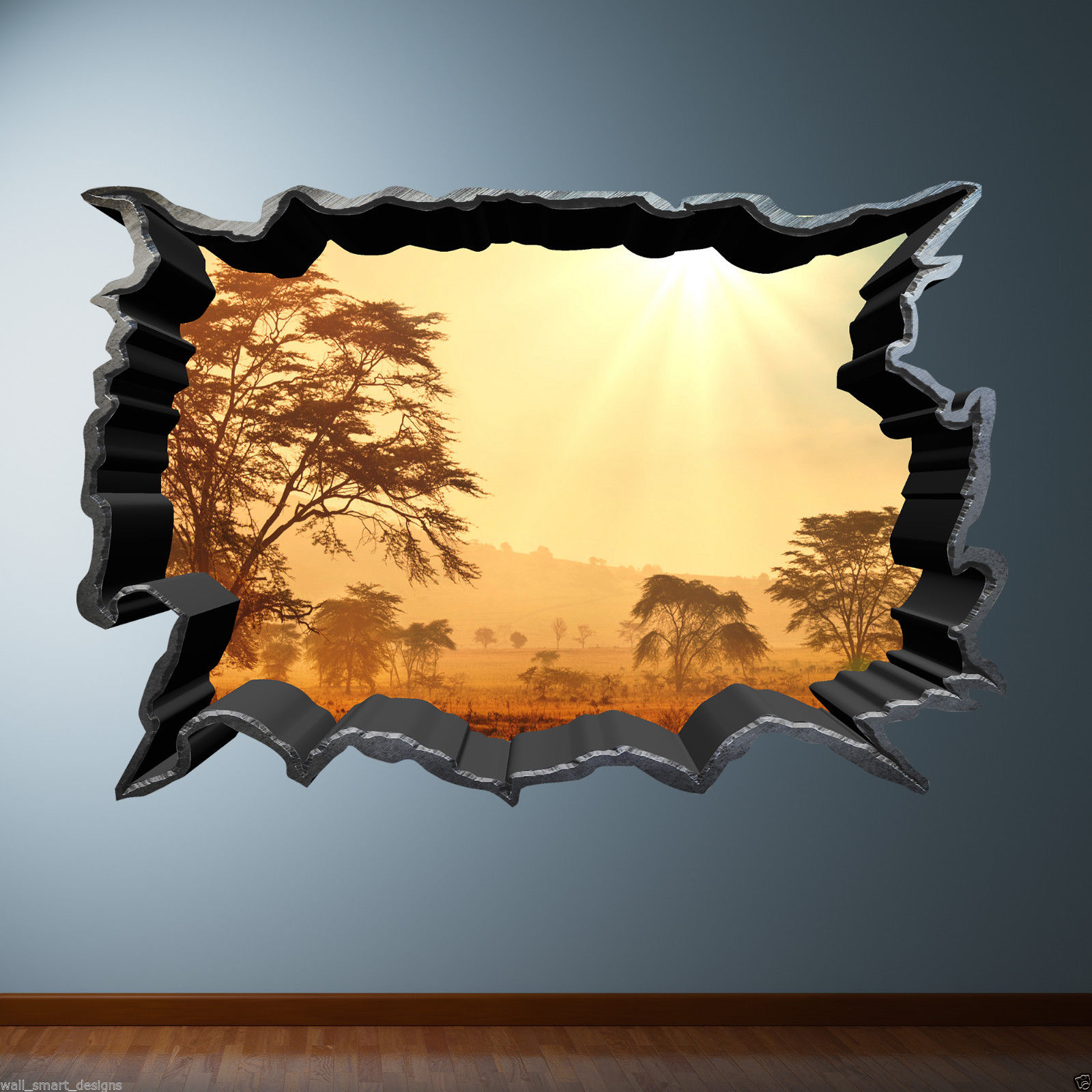 Cracked Hole Safari Home 3D Full Colour Wall Sticker Decal Sunset ...