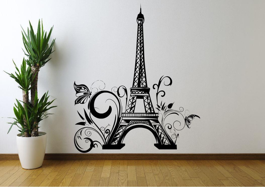 eiffel tower flowers paris wall art sticker decal mural stencil vinyl print ebay. Black Bedroom Furniture Sets. Home Design Ideas