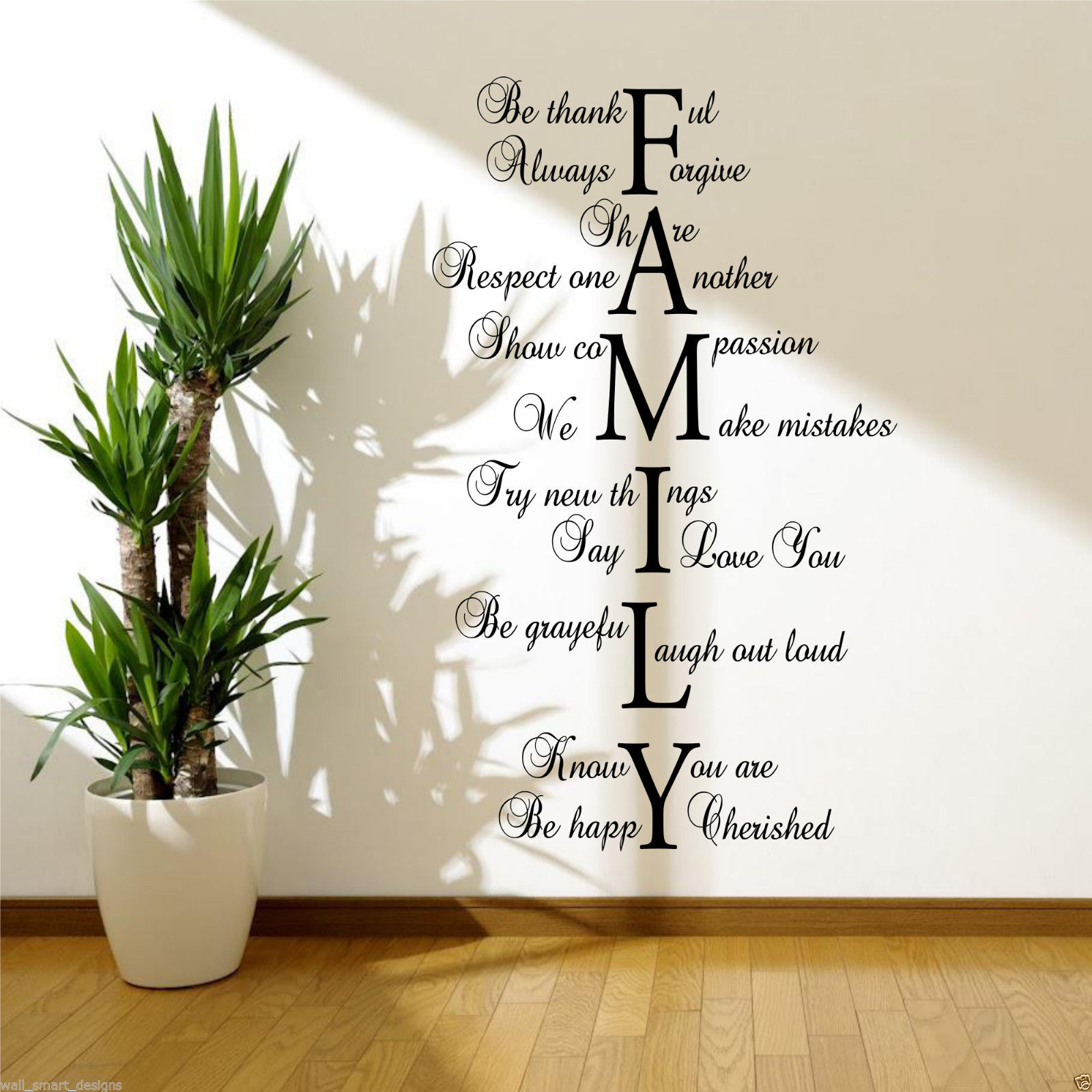 Image is loading FAMILY-LOVE-LIFE-Wall-Art-Sticker-Quote-Room-  sc 1 st  eBay & FAMILY LOVE LIFE Wall Art Sticker Quote Room Decal Mural Transfer ...
