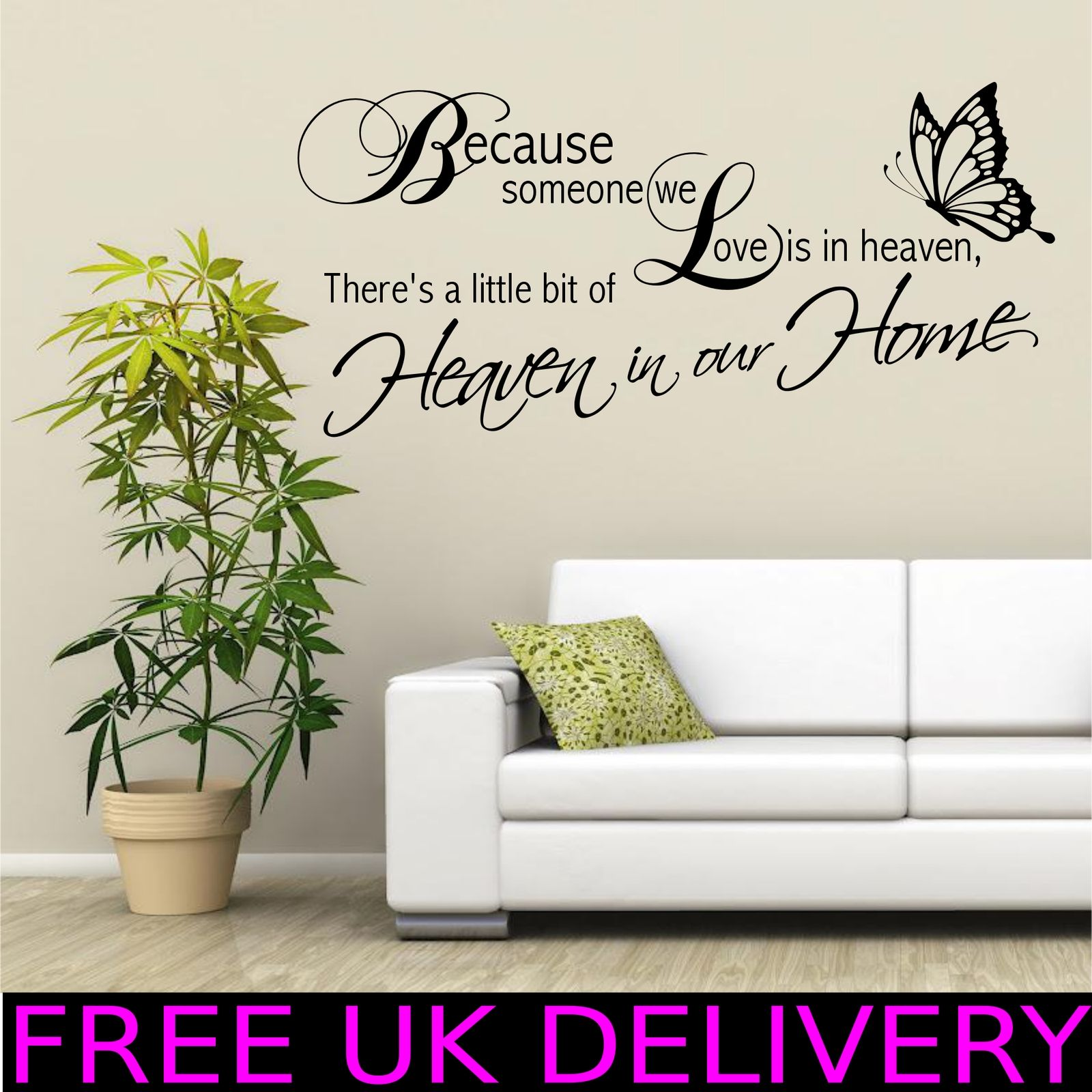 Heaven Home Family Wall Quotes Wall Art Stickers Decal Transfer