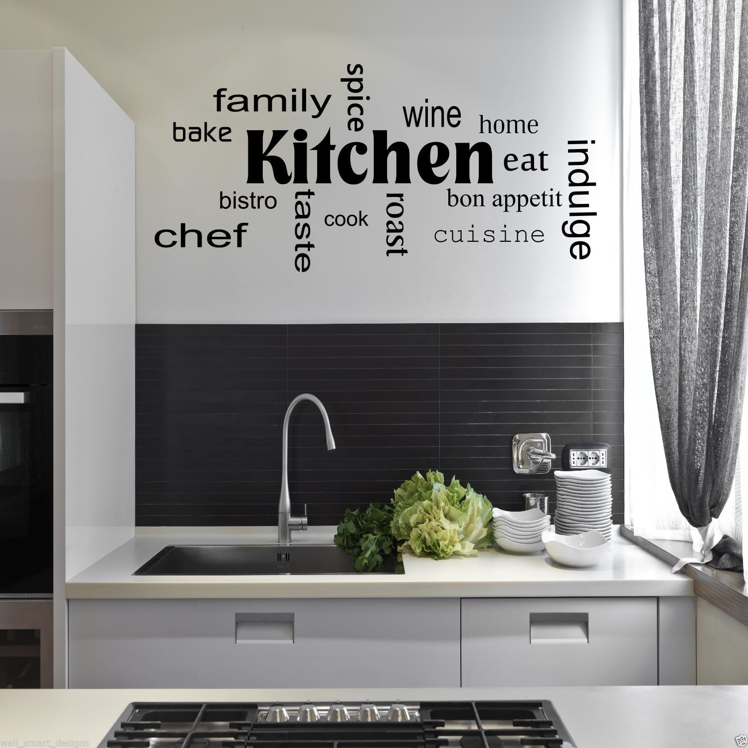 kitchen words phrases wall sticker quote decal stencil transfer decor wsd442 ebay. Black Bedroom Furniture Sets. Home Design Ideas