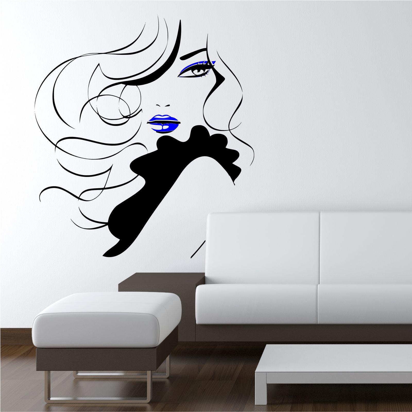Wall Art Murals Decals Stickers Pin Up Girl Women Modern Hair Salon Wall Sticker Decal