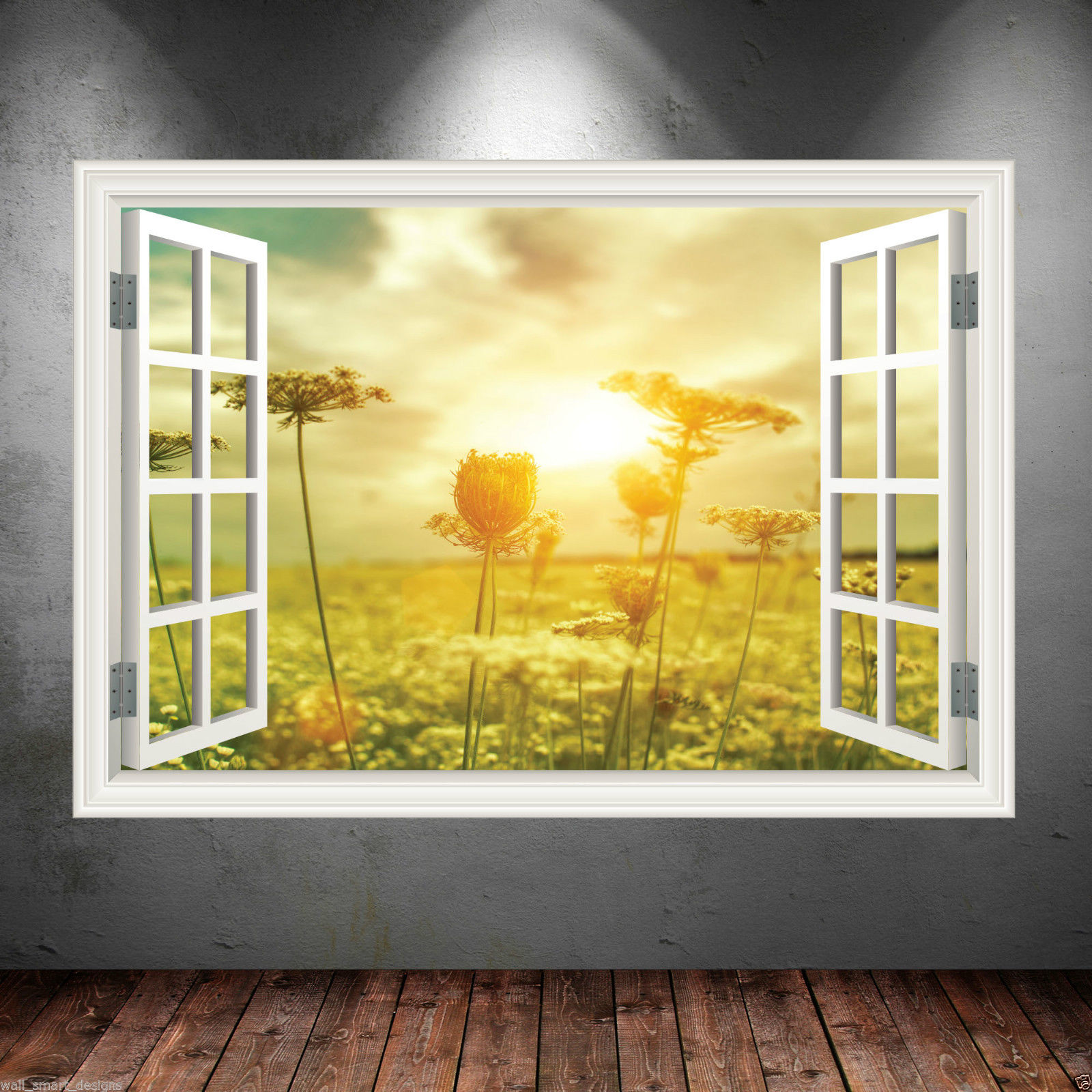 Summer Window Frame Full Colour wall art sticker decal transfer ...