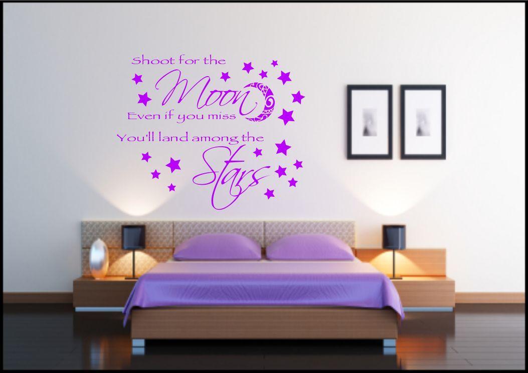 Superbe Frase En Una Calcamonia Mural Luna Estrellas Vinilo