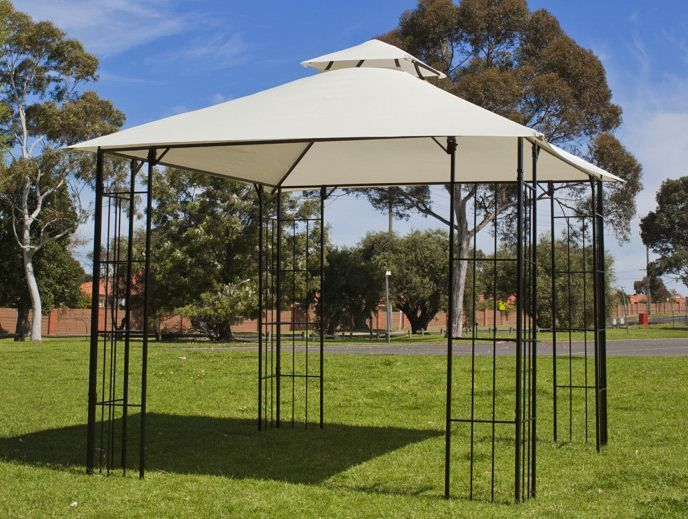3x 3m new steel frame outdoor gazebo marquee sunshade ebay. Black Bedroom Furniture Sets. Home Design Ideas