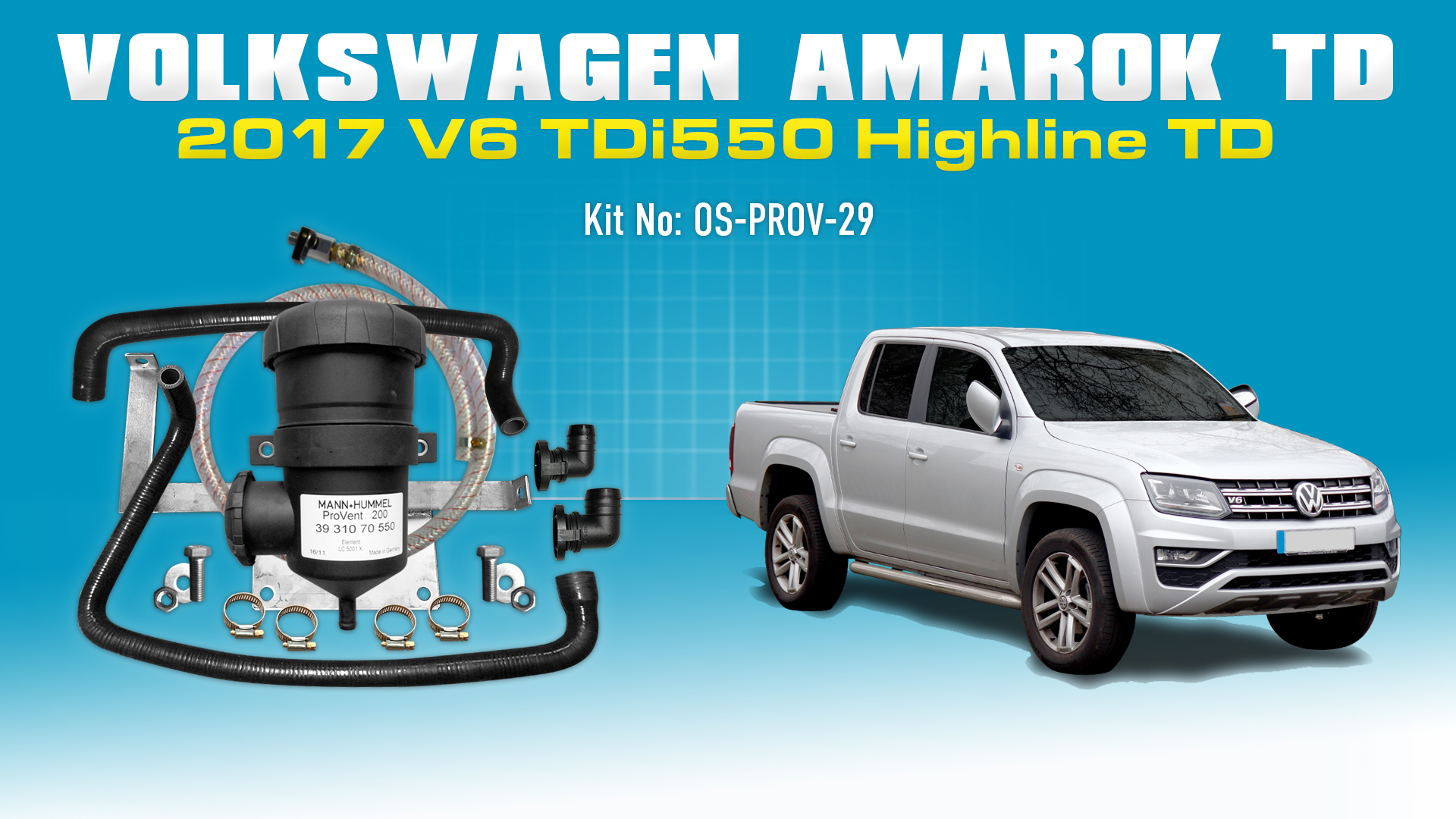 Mann Provent Oil Catch Can Kit for Volkswagen Amarok 2017-on