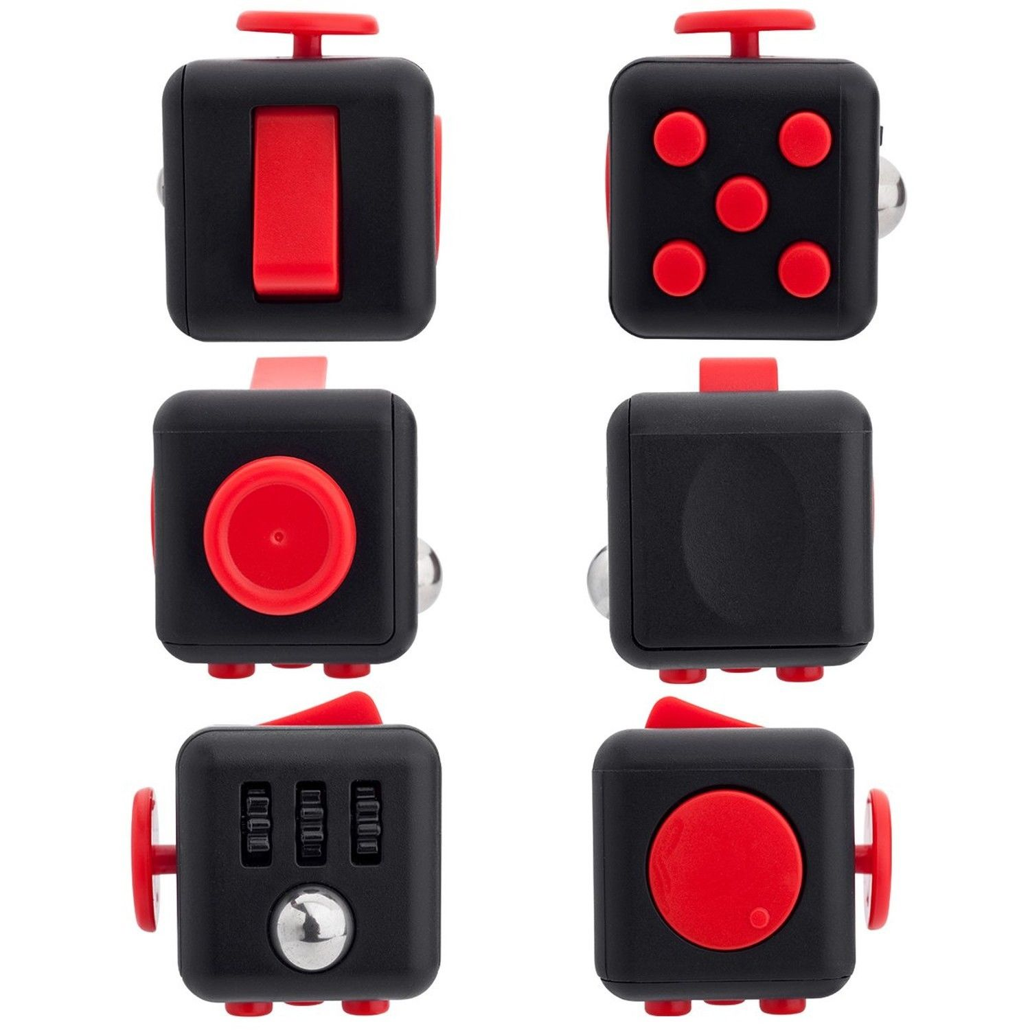 Black Red Fidget Cube Toy Anxiety Stress Attention Relief | eBay