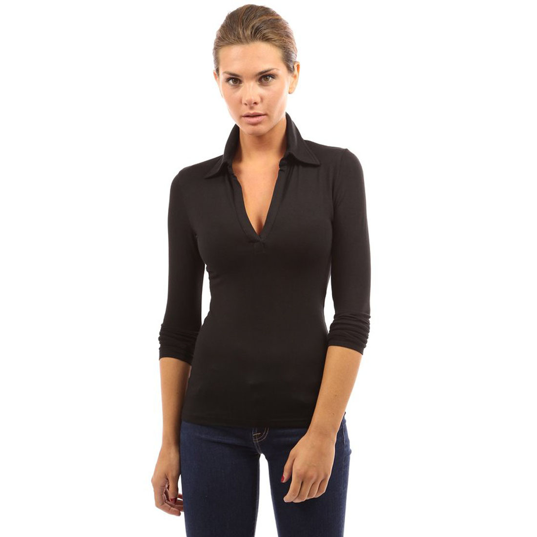 Womens Collar Blouses Deep V-neck High Stretch Long Sleeve Shirt T ...