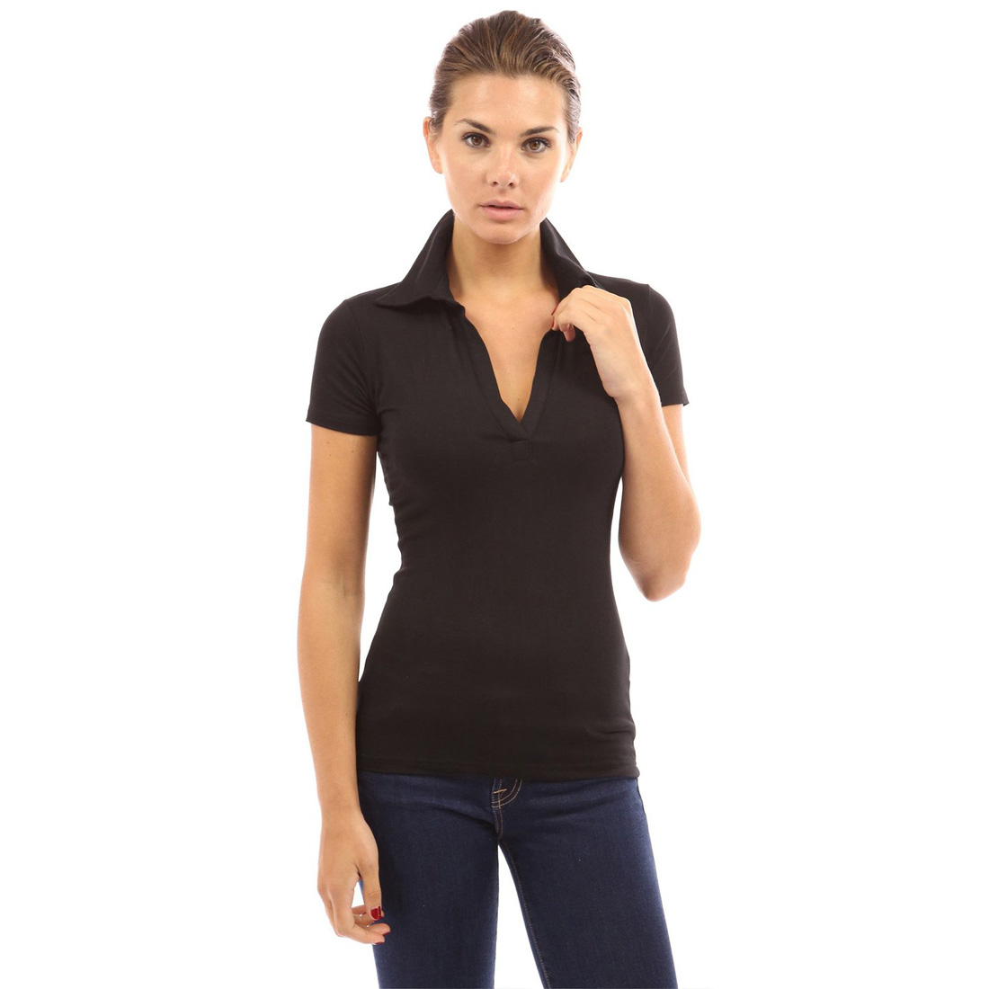 Polo Blouse V Neck Womens Long Short Sleeve Shirts Tops