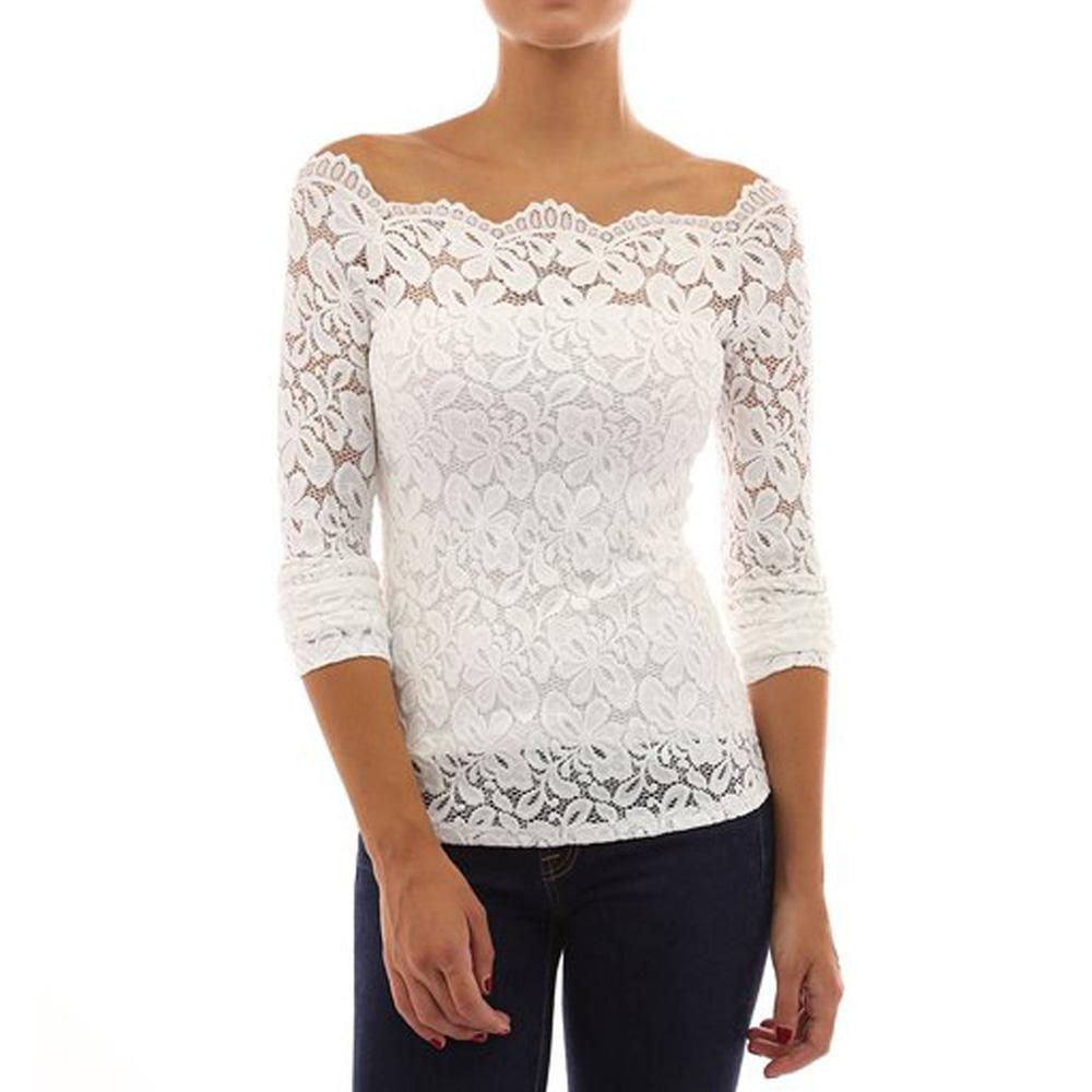 Womens Off Shoulder Floral Lace Blouse Shirt Evening ...