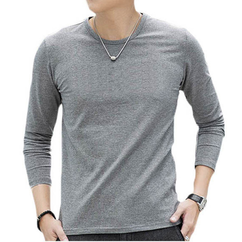 100% Cotton Mens Plain Long Sleeve T-Shirts Basic Tees ...